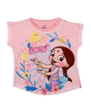 Chhota Bheem By Crossroads Short Sleeves Chutki Character Print Top - Pink