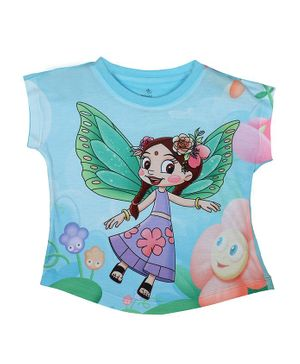 Chhota Bheem By Crossroads Short Sleeves Chutki Character Print Top - Sky Blue
