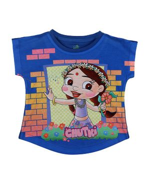 Chhota Bheem By Crossroads Short Sleeves Chutki Character Print Top - Royal Blue