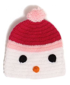 USHA ENTERPRISES Cute Face Design Cap - Pink & White