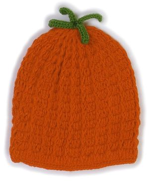 USHA ENTERPRISES Melon Shape Hand Knitted Cap - Orange