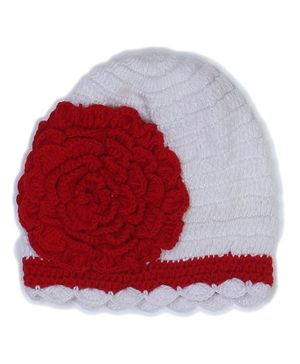 USHA ENTERPRISES Crochet Flower Design Cap - White