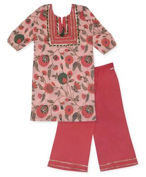 Kinder Kids Three Fourth Sleeves Floral Printed Straight Kurti With Tasseled Neckline & Pants - Pink