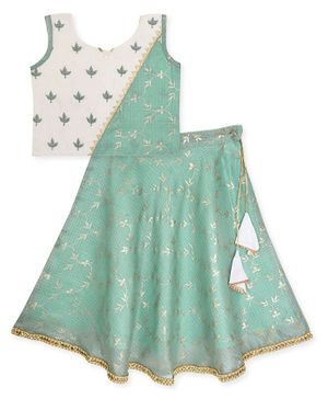 Kinder Kids Foil Printed Kota Lehenga With Sleeveless Choli  - Green Grey