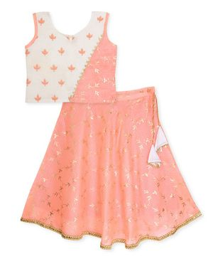 Kinder Kids Foil Printed Kota Lehenga With Sleeveless Choli  - Peach