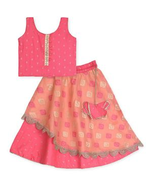 Kinder Kids Sleeveless Print Choli With Layered Lehenga - Pink