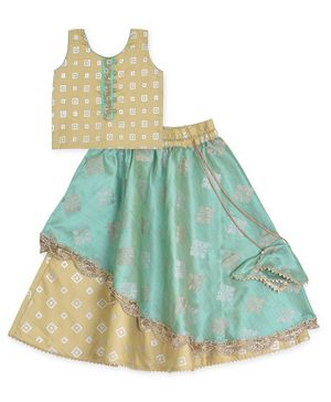 Kinder Kids Sleeveless Box Print Choli With Lehenga - Brown Green