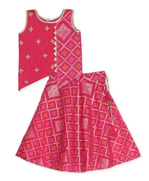 Kinder Kids Sleeveless Bandhani Gold Print Asymmetrical Choli With Lehenga - Pink