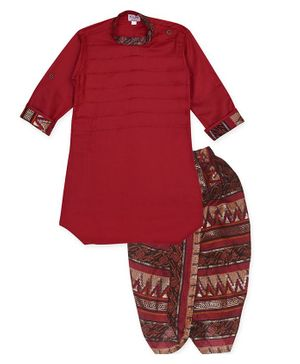 Kinder Kids Full Sleeves Kurta With Printed Dhoti - Red