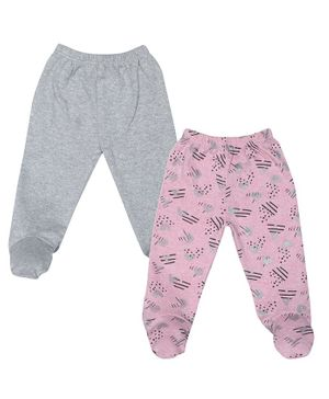 Grandma's Pack of 2 Heart Print Full Length Footed Pant - Pink & Grey