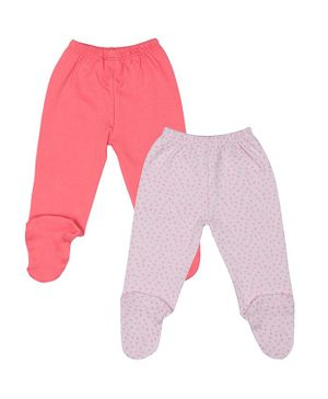 Grandma's Solid Pack of 2 Print Full Length Footed Pant - Pink