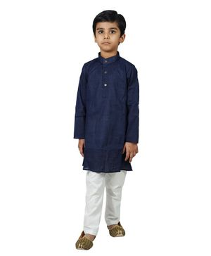 Mittenbooty Full Sleeves Solid Kurta With Pajama - Navy Blue & White