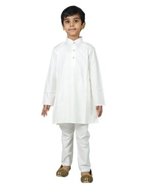 Mittenbooty Full Sleeves Solid Kurta With Pajama - White