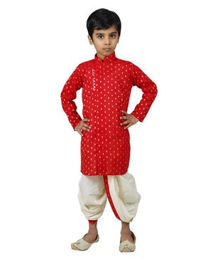 Mittenbooty Full Sleeves All Over Golden Foil Print Kurta With Dhoti - Red & Cream