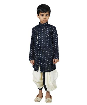 Mittenbooty Full Sleeves All Over Golden Foil Print Kurta With Dhoti - Navy Blue & Cream
