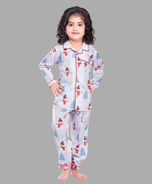 PinkChick Full Sleeves Snow Man Print Night Suit - Blue