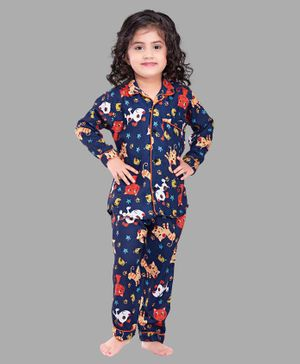 PinkChick Full Sleeves Puppy & Kitty Print Night Suit - Dark Blue