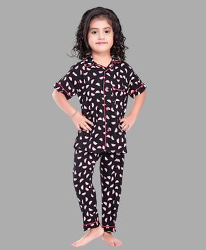 PinkChick Half Sleeves Watermelon Print Night Suit - Black