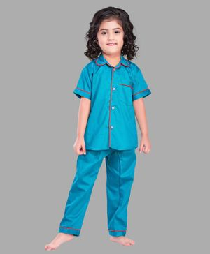 PinkChick Half Sleeves Solid Night Suit - Blue