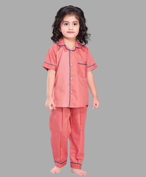 PinkChick Half Sleeves Solid Night Suit - Peach