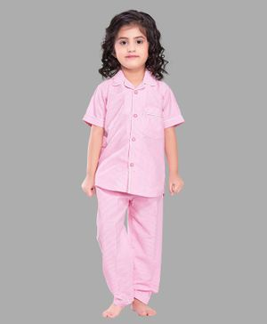 PinkChick Half Sleeves Micro Striped Night Suit - Pink