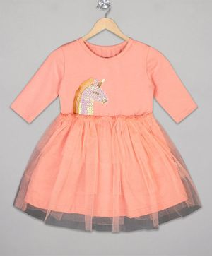 The Sandbox Clothing Co Full Sleeves Unicorn Embellished Dress - Peach