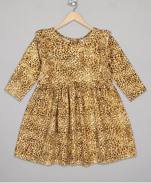 The Sandbox Clothing Co Full Sleeves Leopard Print Dress - Brown