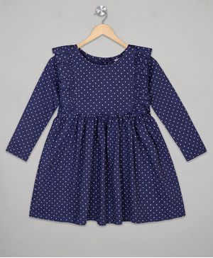 The Sandbox Clothing Co Ruffled Full Sleeves Polka Dot Print Dress - Blue