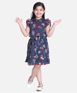 Cutiekins Cap Sleeves Striped & Floral Print Top With Skirt - Navy Blue