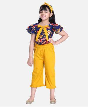 Cutiekins Ruffle Short Sleeves Sleeves Floral Printed Top & Solid Capri Pants - Blue Yellow