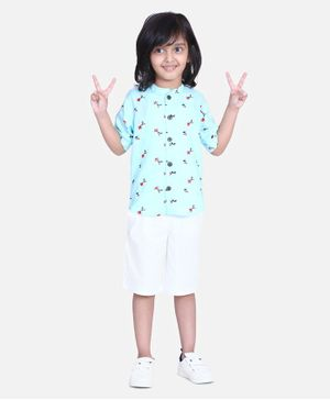 Cutiekins Floral Print Half Sleeves Shirt With Shorts - Blue White