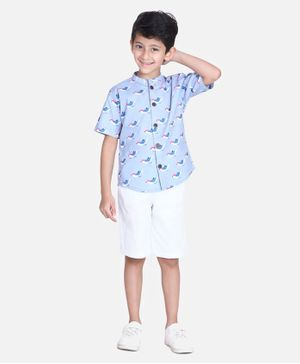 Cutiekins Sparrow Print Half Sleeves Shirt With Shorts - Blue