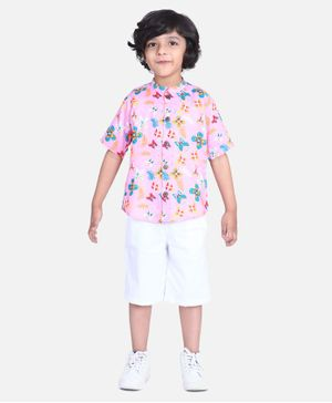 Cutiekins Floral & Butterfly Print Half Sleeves Shirt With Shorts - Pink & White