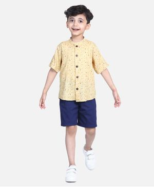 Cutiekins Stripe & Dot Print Half Sleeves Shirt With Shorts - Yellow