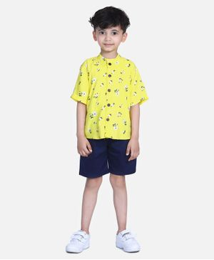 Cutiekins Floral & Dot Print Half Sleeves Shirt With Shorts - Yellow