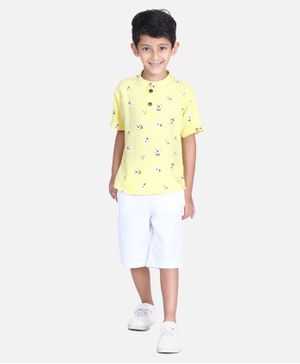 Cutiekins Floral Print Half Sleeves Shirt With Shorts - Yellow