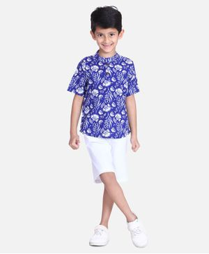 Cutiekins Floral Print Half Sleeves Shirt With Shorts - Blue
