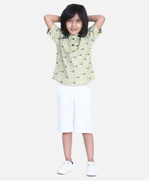 Cutiekins Sparrow Print Half Sleeves Shirt With Shorts - Green
