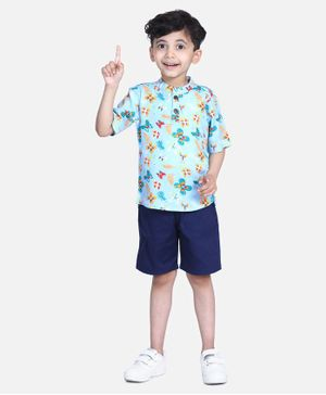 Cutiekins Floral & Butterfly Print  Half Sleeves Shirt With Shorts - Blue