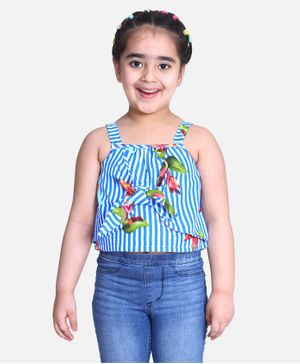 Cutiekins Striped Sleeveless Floral Print Top - Blue