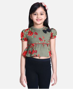 Cutiekins Short Sleeves Floral Print Top - Green