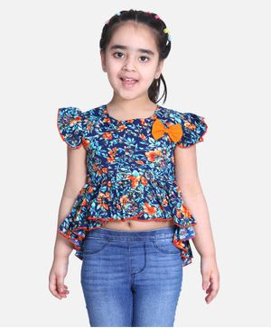 Cutiekins Cap Sleeves Floral Print High Low Top - Blue & Orange