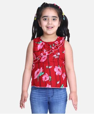 Cutiekins Sleeveless Floral Print Top - Red
