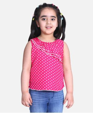 Cutiekins Sleeveless Polka Dot Printed Top - Pink
