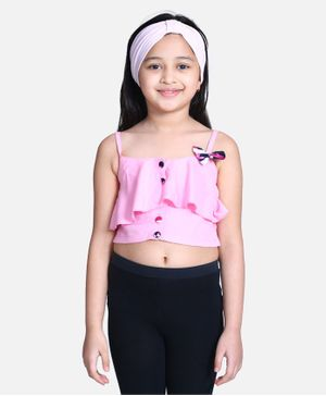 Cutiekins Sleeveless Bow Detailing Crop Top - Light Pink
