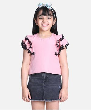 Cutiekins Short Sleeves Pom Pom Lace Detailing Top - Light Pink