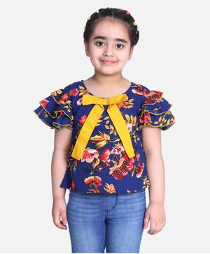 Cutiekins Half Ruffle Sleeves Floral Print Top - Navy Blue