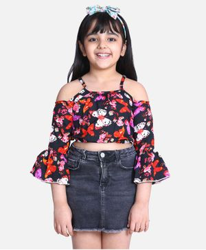 Cutiekins Full Bell Sleeves Butterfly Printed Top - Black
