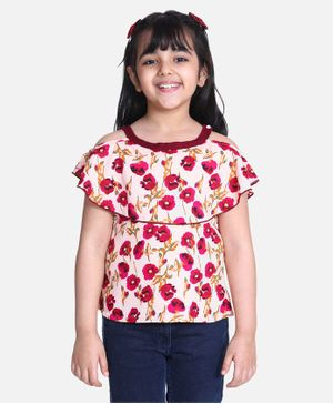 Cutiekins Short Sleeves Floral Print Top - Red & Peach