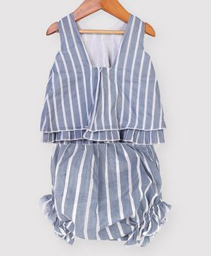 Nino Bambino 100% Organic Cotton Sleeveless Striped Top With Shorts - Blue